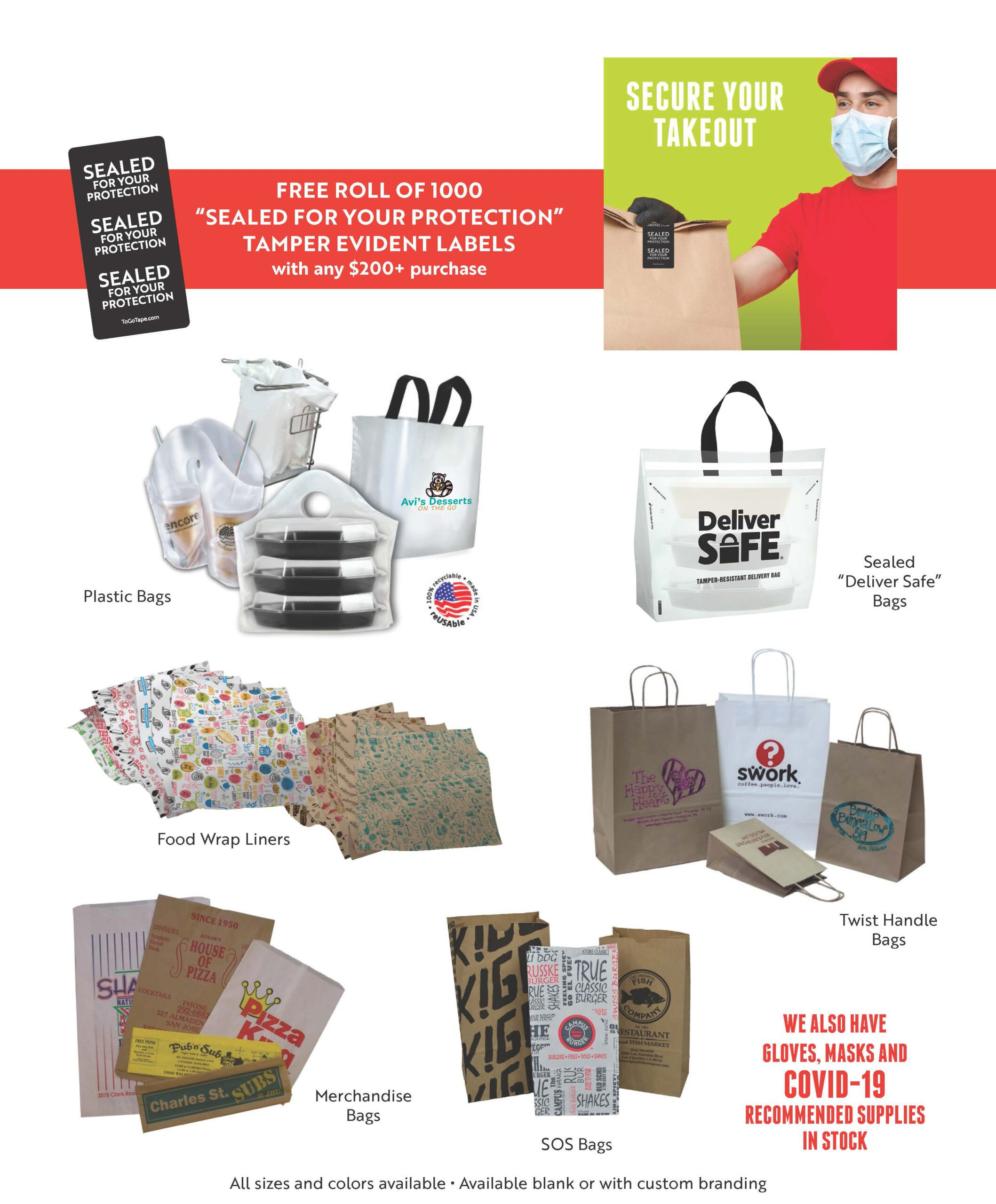 Debs Packaging Flyer showing custom printed take out bags for restaurants